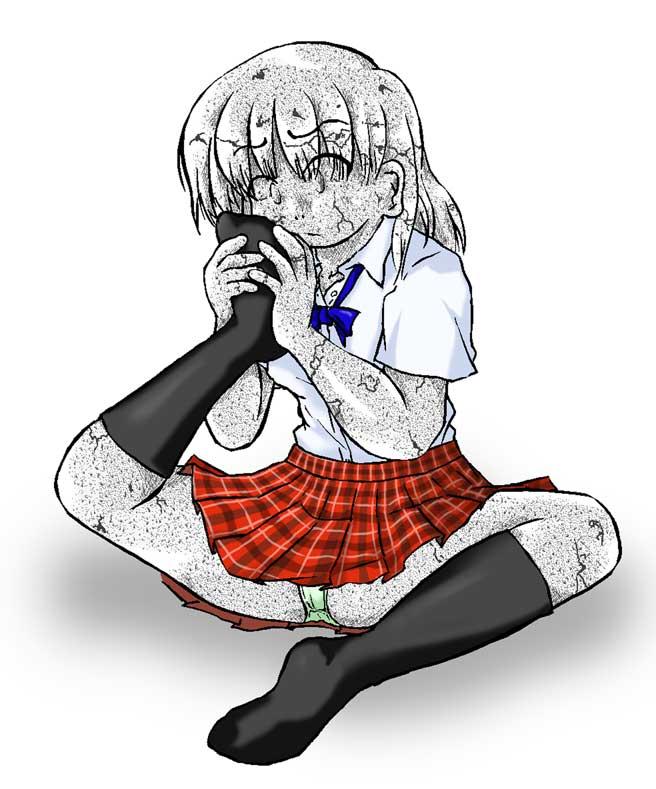 自分の足の臭いを嗅ぐ娘・石化(656x789 / 63,589bytes)
