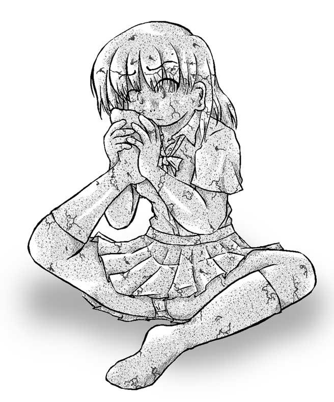 自分の足の臭いを嗅ぐ娘・服ごと石化(656x789 / 80,344bytes)
